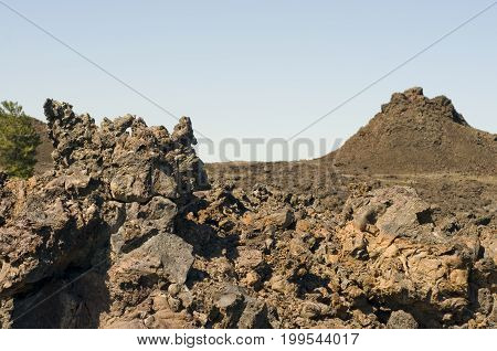 Block lava fragments and landscape of the Craters of the Moon National Monument and Preserve, Idaho