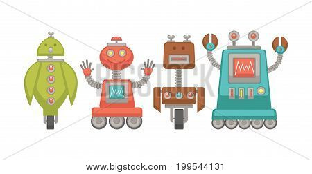 Funny unusual robots on wheels with colorful indicators, screens with wave, powerful antennas, metal limbs and unique faces isolated cartoon flat vector illustrations set on white background.