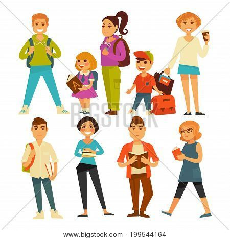 People of various ages with books and bags isolated vector illustrations set on white background. Young guys from university, little children with rucksacks, teenage girls and elegant grown women.