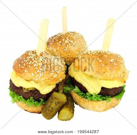 Group of cheeseburger sliders with melted cheese isolated on a white background