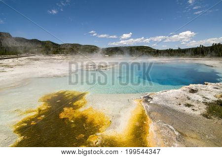 Sapphire Pool in Biscuit Basin in Yellowstone National Park, Wyoming