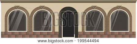 Vector illustration of entrance and windows in the street.