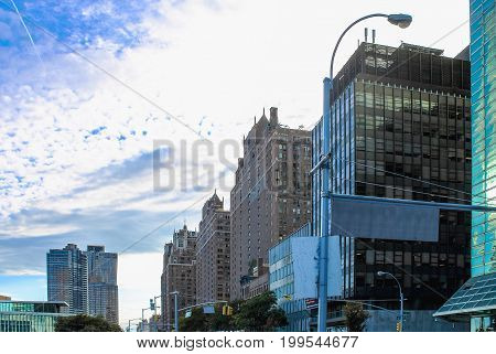 New York USA - 26 September 2016: Buildings lining First Avenue looking toward lower Manhattan from 44th Street outside the One UN Plaza building.