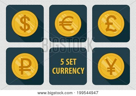 Currency set of vector icons isolated on dark background with long shadows