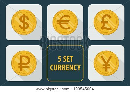 Currency set of vector icons isolated on white background with long shadows