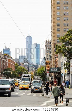 New York USA - 27 September 2016: Busy Greenwich Village - Greenwich Village is a neighborhood on the west side of Lower Manhattan New York City.