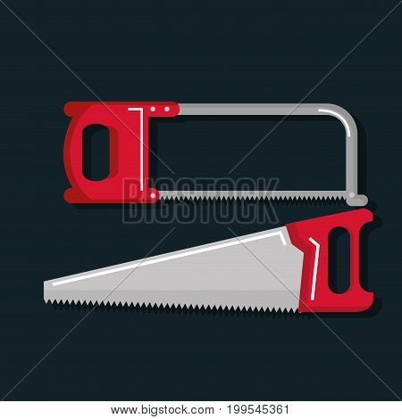 set of carpentry tools for sawing wood products vector illustration