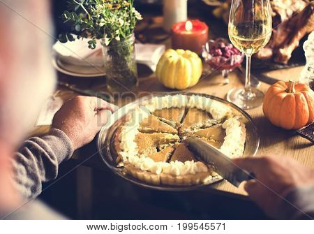 Cutting Pumpkin Pie Dessert Thanksgiving Concept