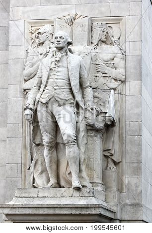New York USA - September 27 2016: Close up of 'Washington accompanied by Wisdom and Justice' (by Alexander Stirling Calder) located on the arch entrance of Washington Square Park.