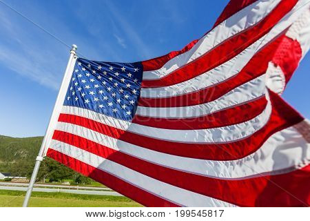 Flag of the United States of America (American flag or The Stars and Stripes Old Glory The Star-Spangled Banner) waving in the wind against summer forest landscape in sunny day.