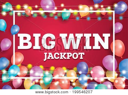 Big Win Jackpot Banner with Flying Balloons and White Frame.