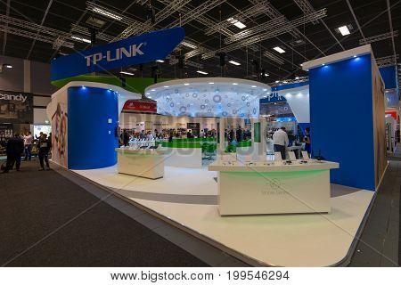 BERLIN - SEPTEMBER 04 2015: Stand of company TP-Link. International radio exhibition Berlin (IFA)