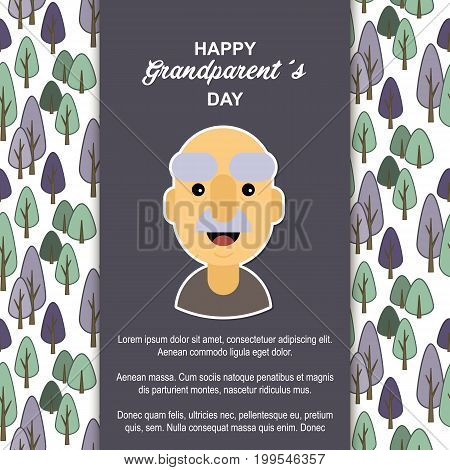 Happy day grandparents. Card for your greetings. Stock vector. Dear sweet grandfather .