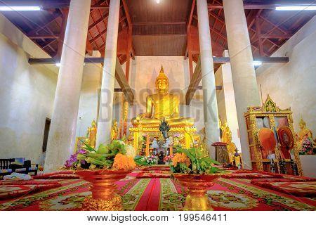 Golden Buddha Statue In The Old Church Wat Samanakotaram In Ayutthaya Historical Park, Thailand. .