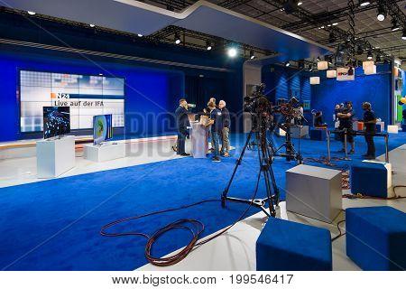 BERLIN - SEPTEMBER 04 2015: Mobile studio German television news broadcaster N24. International radio exhibition Berlin (IFA).
