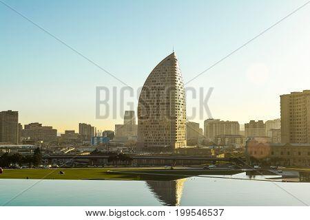Baku,Azerbaijan. May 25, 2017. Trump tower skyscraper