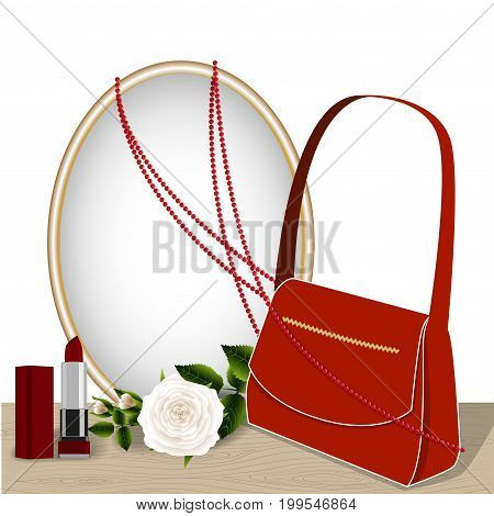 Mirror on the table, rose and accessories, red bag, lipstick and coral necklace reflected in the mirror, isolated on white background, illustration