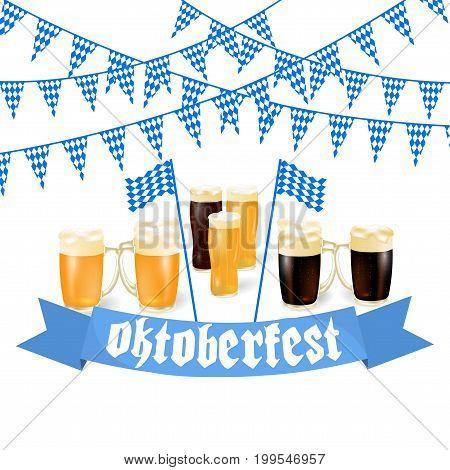 Oktoberfest banners in Bavarian color. Light and dark beer. Feast of Bavaria white and blue ribbon Oktoberfest. Vector illustration