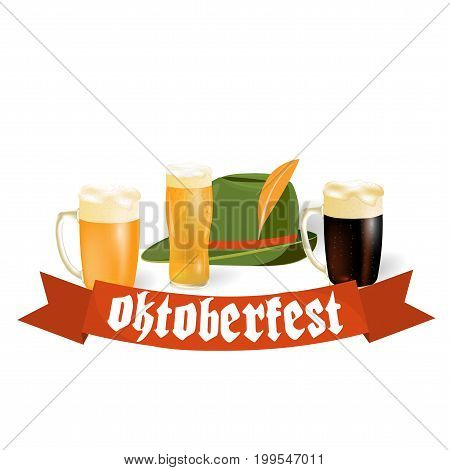 Oktoberfest banners in Bavarian color. Light and dark beer, hat. Feast of Bavaria with a red ribbon Oktoberfest. Vector illustration