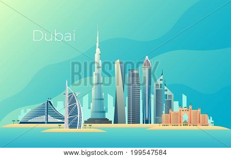 Dubai city landscape. Emirates architecture cityscape vector landmark. Cityscape skyscraper emirates, landscape skyline tower urban building illustration