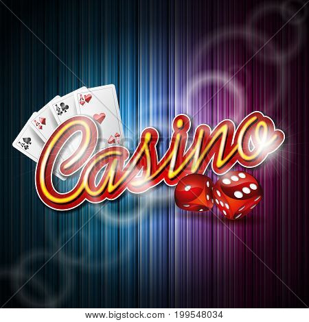 Vector Illustration On A Casino Theme With Poker Card And Dices On Dark Background. Eps 10 Design.