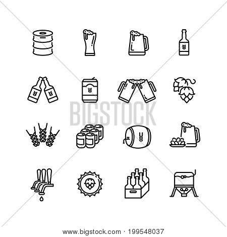 Beer alcohol drinks line vector icons. Brewing alcohol beer from hops illustration
