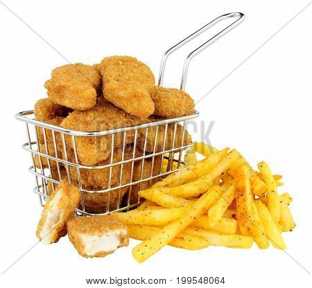 Breadcrumb covered chicken nuggets and French fries in a small wire frying basket isolated on a white background