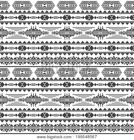 Aztec culture vector seamless pattern. Mexican maya endless background. Ethnic fashion geometric background illustration