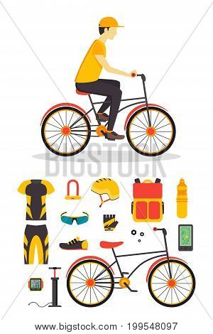 Delivery Boy and Bicycle Business Service Flat Design Style. Vector illustration
