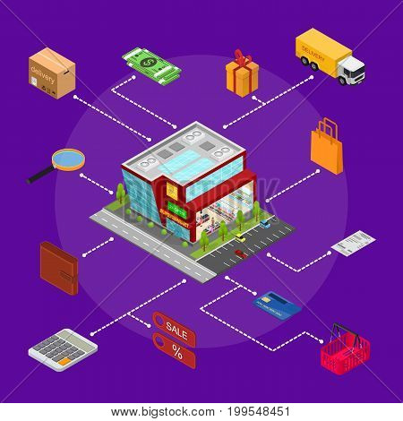 E-commerce Concept with Mobile Phone Shopping Technology Service Element Part Isometric View. Vector illustration