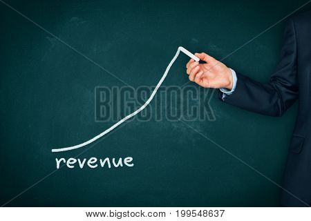 Increase revenue concept. Businessman (mentor, coach, manager, leader) plan revenue growth.