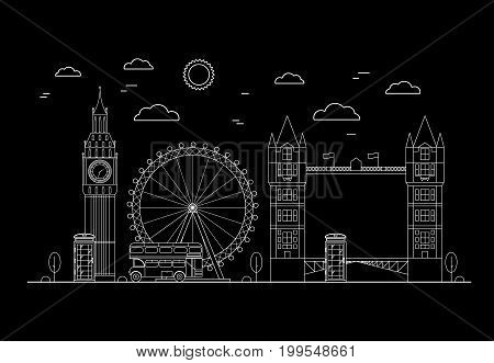 London City on a Dark Background Thin Line Pixel Perfect Art. Material Design. Vector illustration