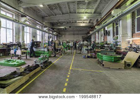 LIPETSK, RUSSIA - JUNE 15, 2017: Lipetsk Machine Tool Plant Assembly shop for metalworking machines.
