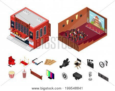 Cinema Building Isometric View Modern Exterior Facade and Interior Auditorium for Cinematography Movie Show Business. Vector illustration