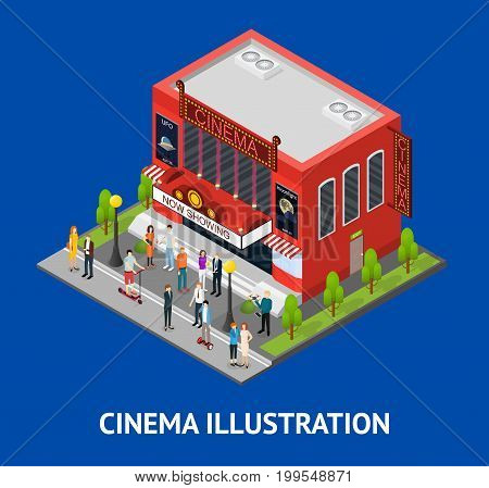 Cinema Building Card Isometric View Modern Exterior Facade for Cinematography Movie Show Business. Vector illustration