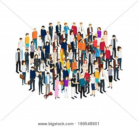 People Set Man and Woman Isometric View Person Social Element Diverse Character Symbol Of The Crowd. Vector illustration