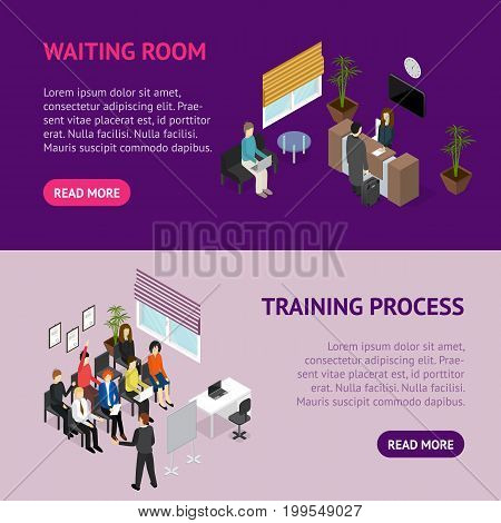 Business Training or Coaching Service Banner Horizontal Set Isometric View Corporate Professional Education Concept. Vector illustration