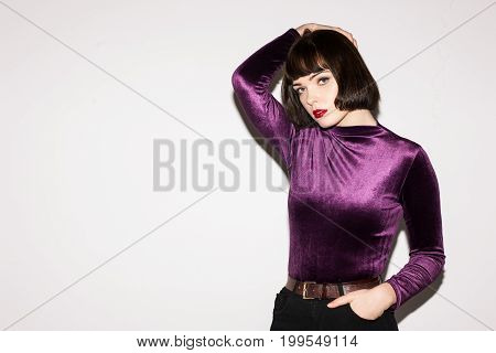Fashion photo model. Young beautiful lady. Creative hairstyle, seductive pretty woman, photoshoot concept