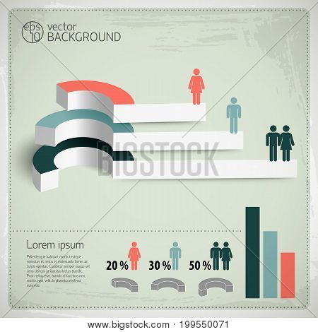 Vintage infographics set with business elements and graphs vector Illustration