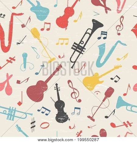 Colorful music seamless pattern with musical instruments vector Illustration
