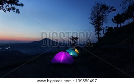 Camping Tents At Twilight Time