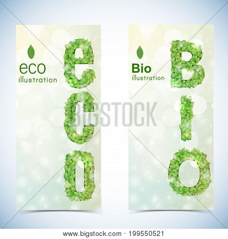 Nature abstract eco banners set of bookmark with lettering formed by font of green leaves on sun glare background vector illustration