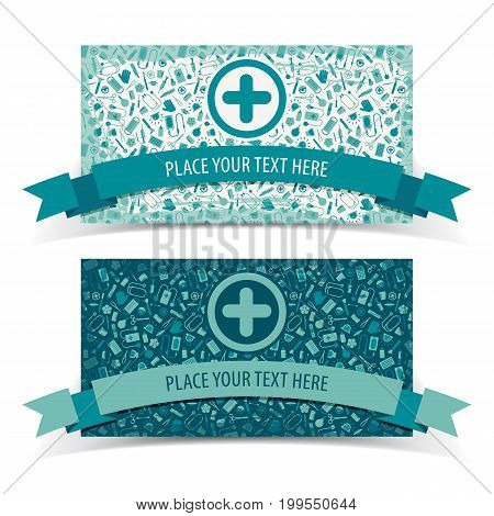 Medicine and health horizontal banners set with help symbols flat isolated vector illustration
