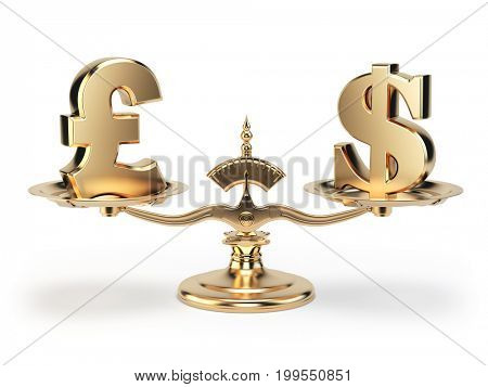 Scale with symbols of currencies UK pound and US dollar isolated on white background. 3d illustration
