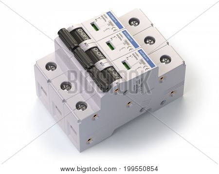 Automatic circuit breaker isolated on white background. 3d illustration