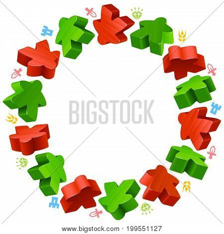 Circle frame of meeples for board games. Red and green game pieces, and resources counter icons isolated on white background. Vector border for design boardgames advertisement or template of geek t-shirt print