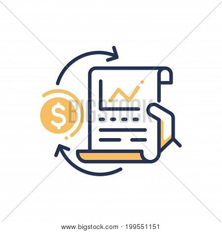 Stock Exchange - modern vector single line design icon. An image depicting a hand holding sheet of paper with chart, yellow dollar sign on white background. Use it for business and finance presentation.
