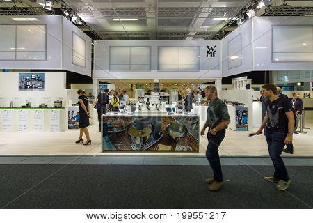 BERLIN - SEPTEMBER 04 2015: Stand of company MWF. International radio exhibition Berlin (IFA2015).