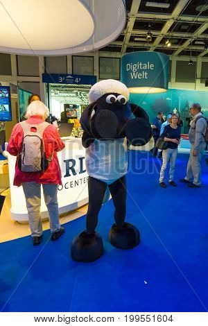 BERLIN - SEPTEMBER 04 2015: Pavilion of the German television company ARD and character cartoons Shaun the Sheep. International radio exhibition Berlin (IFA2015).