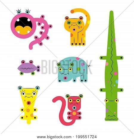 Set collection of unusual cute colored bright strange various cute colorful cartoon weird сreatures monsters animals zoo